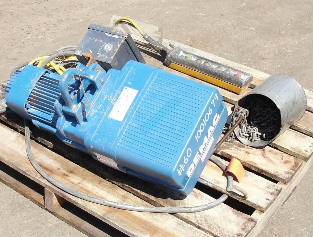 Material Handling Equipment chain hoist, 2000 lbs. Demag 13 long chain3