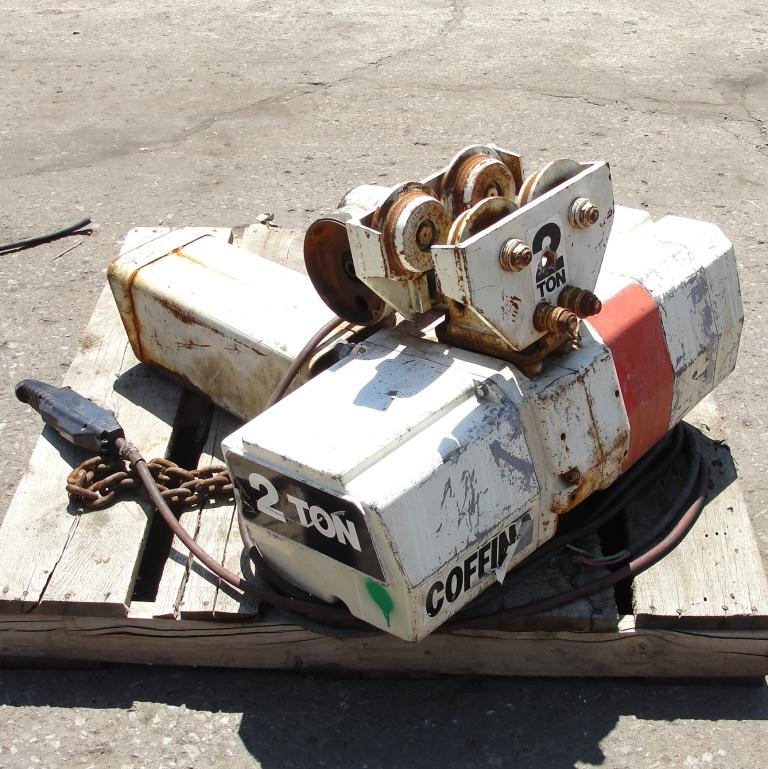 Material Handling Equipment chain hoist, 4000 lbs. Duff-Norton/Amstar model Coffing, 28 long chain3