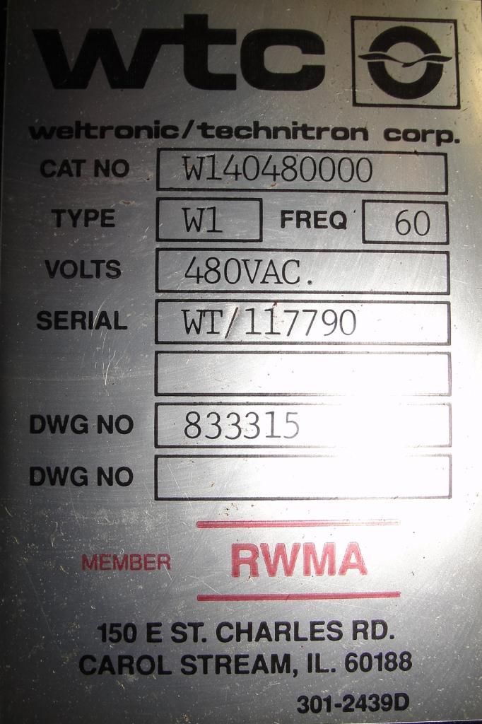 Machine Tool spot welder, 75 KVA capacity, 9 throat5