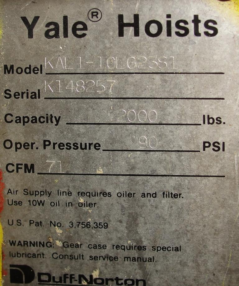 Material Handling Equipment chain hoist, 2000 lbs. Yale model Kal1-10LG23S16
