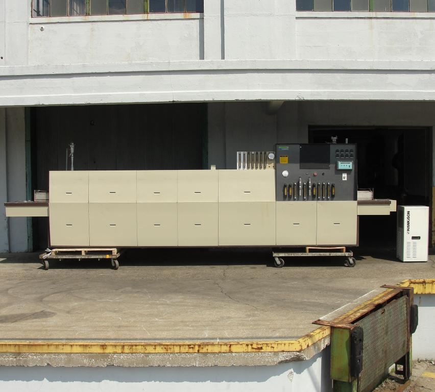 Calciner Lindberg model 816 continuous furnace, up to 2012 deg. F, 6w x 3h work opening, 21 overall length2