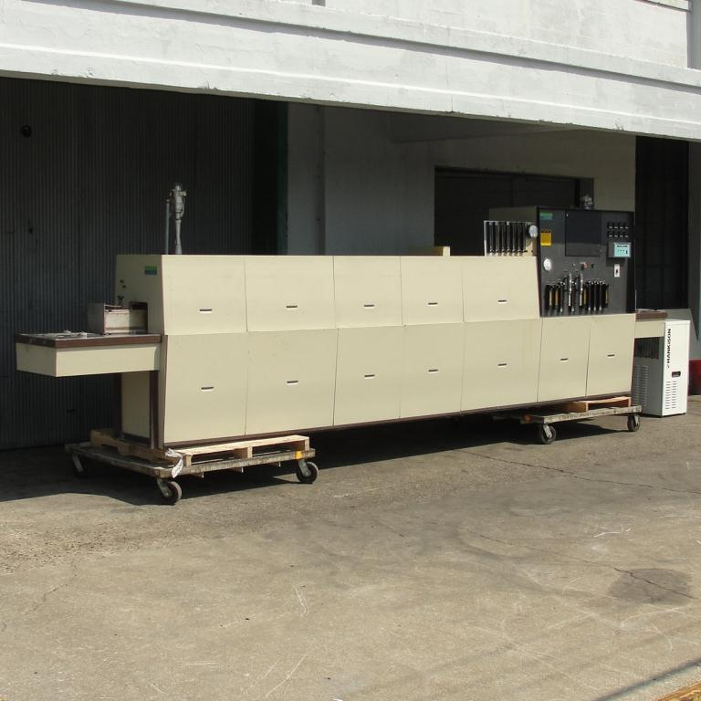 Calciner Lindberg model 816 continuous furnace, up to 2012 deg. F, 6w x 3h work opening, 21 overall length3