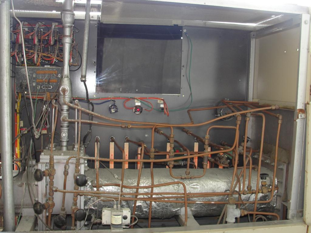 Calciner Lindberg model 816 continuous furnace, up to 2012 deg. F, 6w x 3h work opening, 21 overall length6