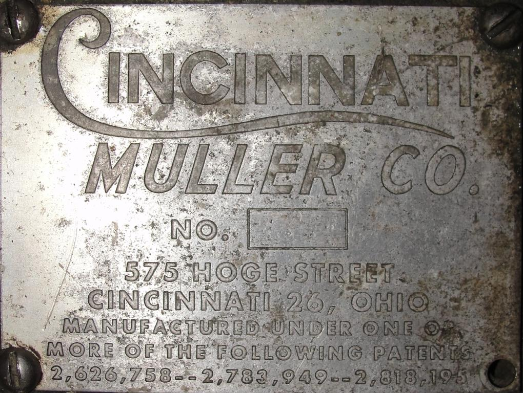 Mill 12 diameter bowl Cincinnati Muller Co mix muller8