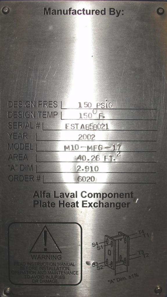 Heat Exchanger 40.26 sq.ft. Alfa Laval plate heat exchanger, Stainless Steel Contact Parts5