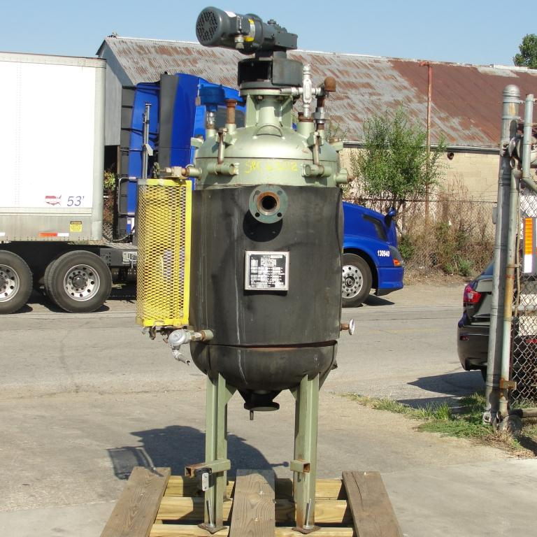 Reactor 65 gallon Mid-South Maintenance Inc. chemical reactor, 110 psi internal, 50 psi jacket, 1 hp 3 blade agitator3
