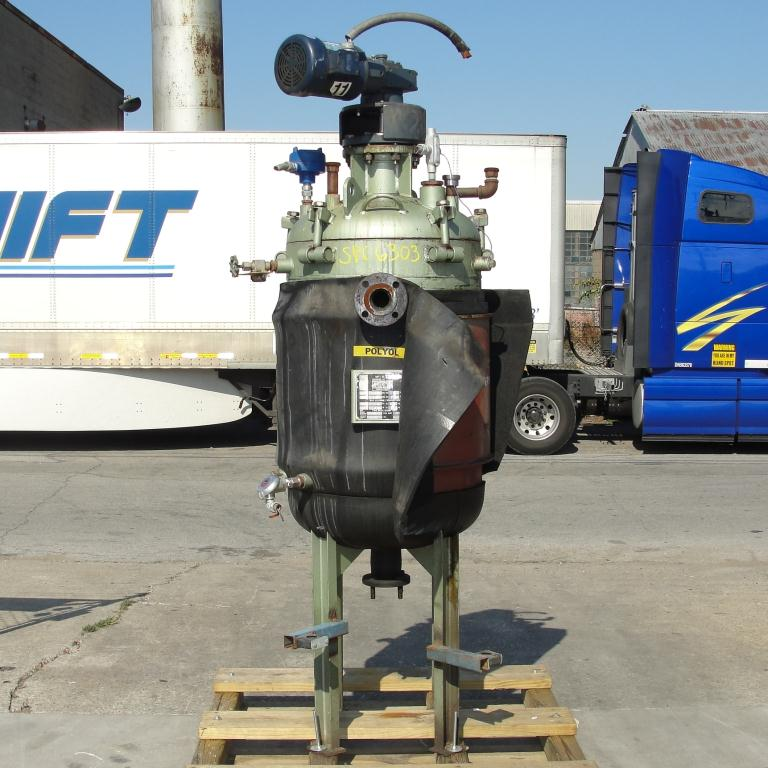 Reactor 65 gallon Mid-South Maintenance Inc chemical reactor, 110 psi internal, 50 psi jacket, 1 hp 3 blade agitator1