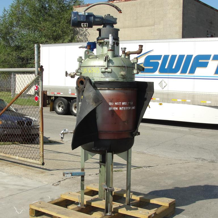 Reactor 65 gallon Mid-South Maintenance Inc chemical reactor, 110 psi internal, 50 psi jacket, 1 hp 3 blade agitator3
