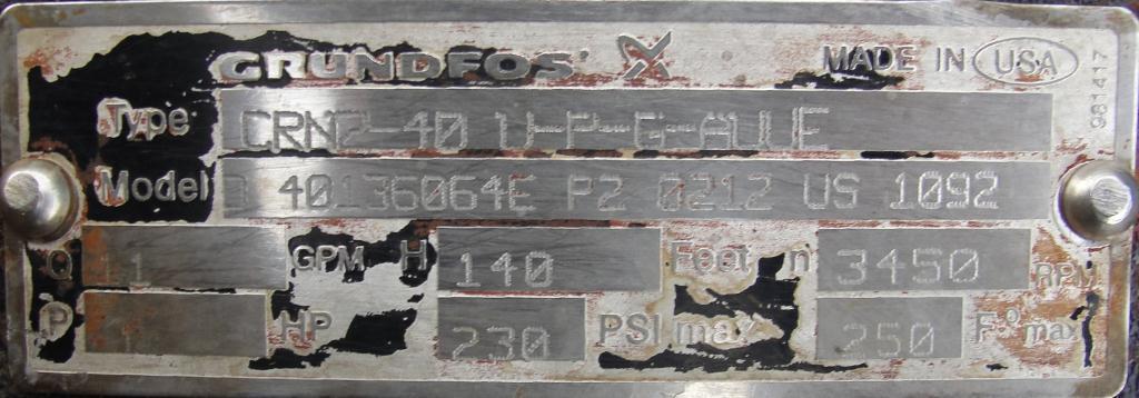 Pump Grundfos centrifugal pump, 1 hp, 316 SS6