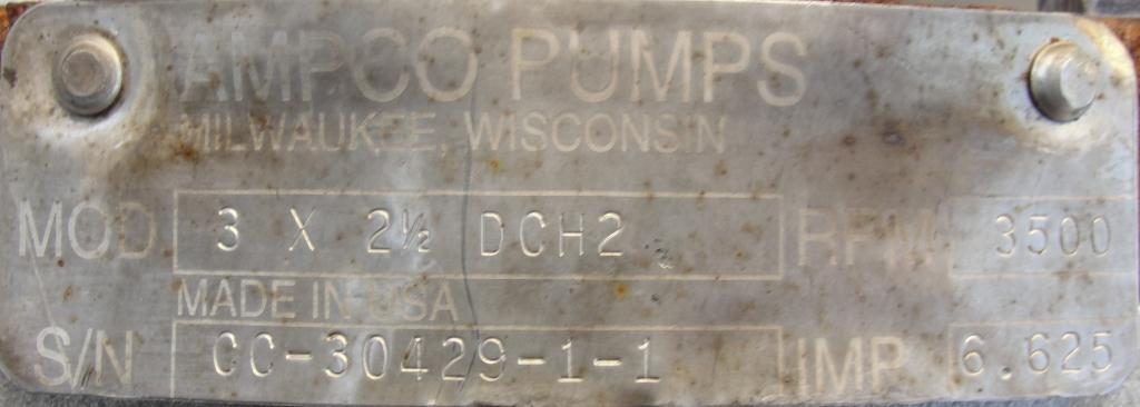 Pump 3x2.5x6.5 AMPCO centrifugal pump, 20 hp, 316 SS6