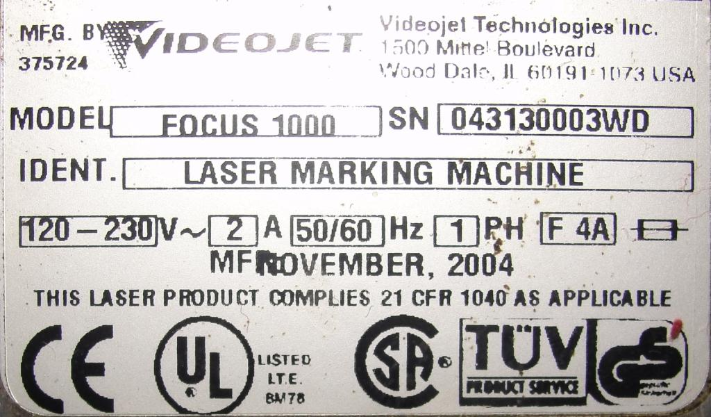 Coder VideoJet laser coder model Focus 10006