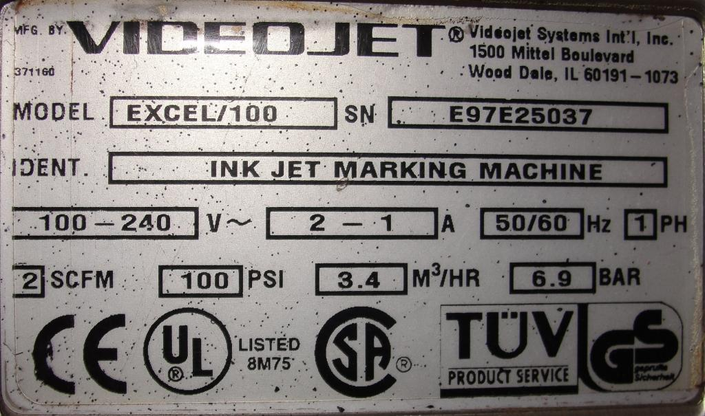 Coder Videojet ink-jet coder model Excel 100, 1 print heads, 900 ft/min6