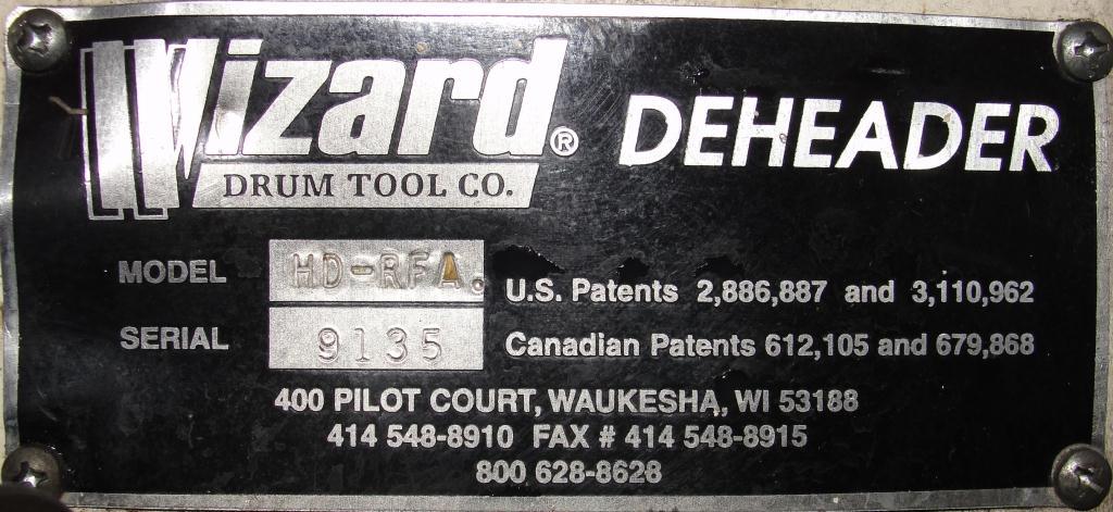 Material Handling Equipment Wizard Drum Tool Co. model HD-RFA 55 gallon drum deheader, pnuematic6