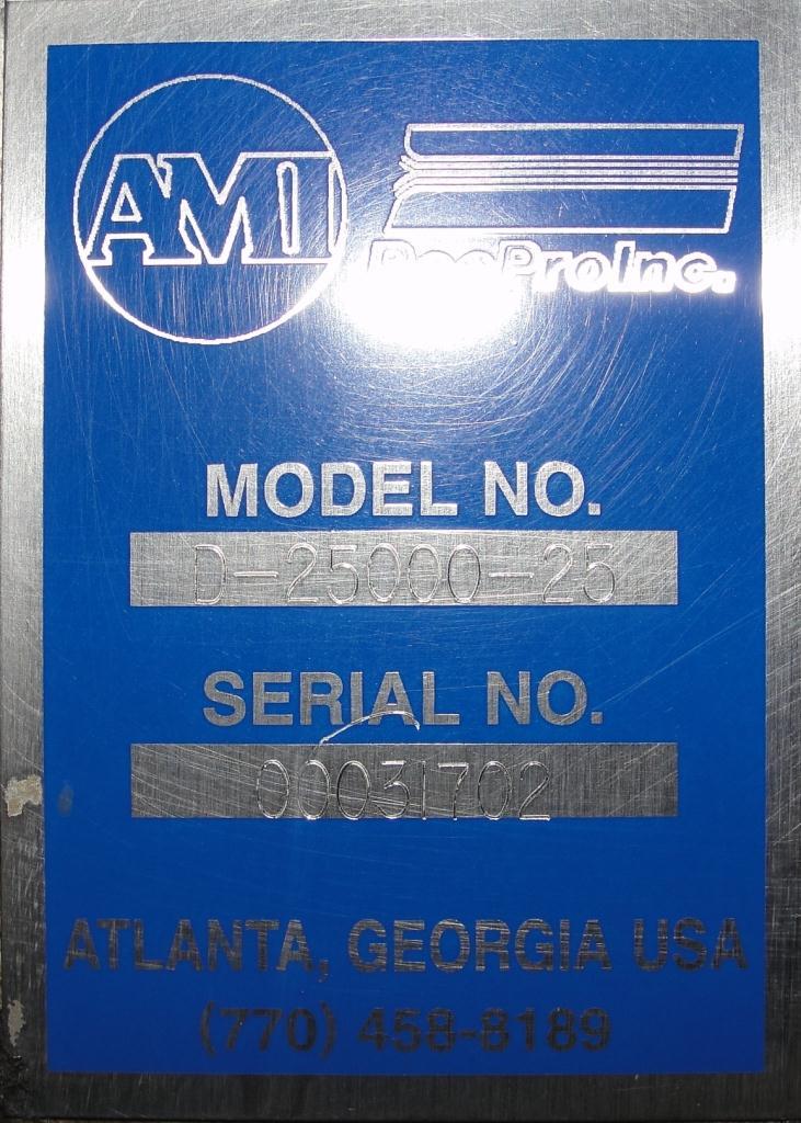 Form Fill and Seal AMI vertical form fill seal model TopZip D-2500-25, 60 bpm9