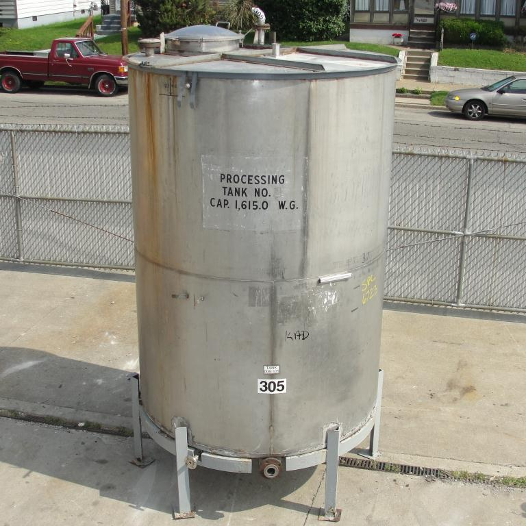 Tank 1615 gallon vertical tank, 304 SS, slope bottom8