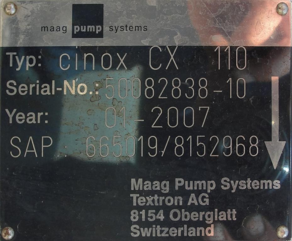 Pump 4 inlet Maag Pump positive displacement pump model CX 110/110, 10 hp, Stainless Steel5
