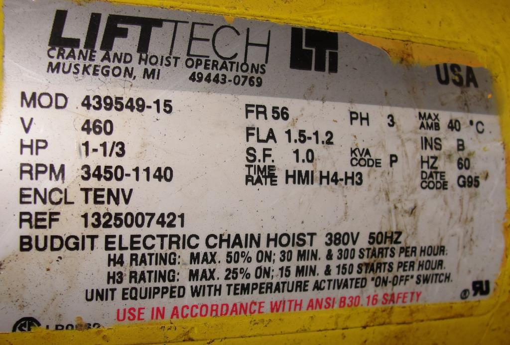 Material Handling Equipment chain hoist, 2000 lbs. Budgit model 11689957, 10 chain7