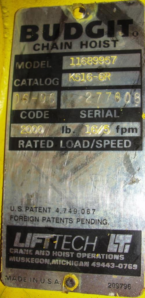 Material Handling Equipment chain hoist, 2000 lbs. Budgit model 11689957, 105