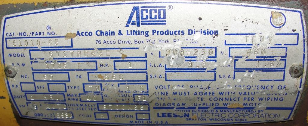 Material Handling Equipment chain hoist, 2000 lbs. ACCO model 2101360, 10 chain6