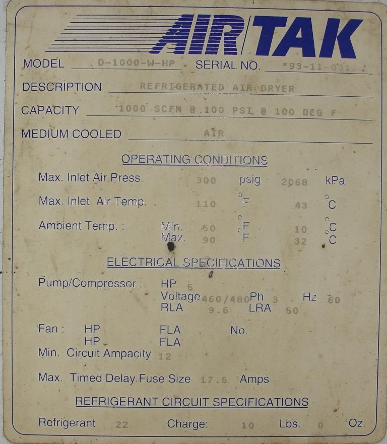 Compressor 5 hp Air Tak air dryer model D-1000-W-HP, 1000 cfm6