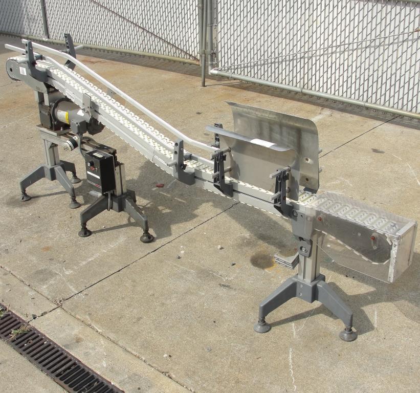 Conveyor inclined belt conveyor Aluminum, 4 w x 92 l, 32.75 discharge height3