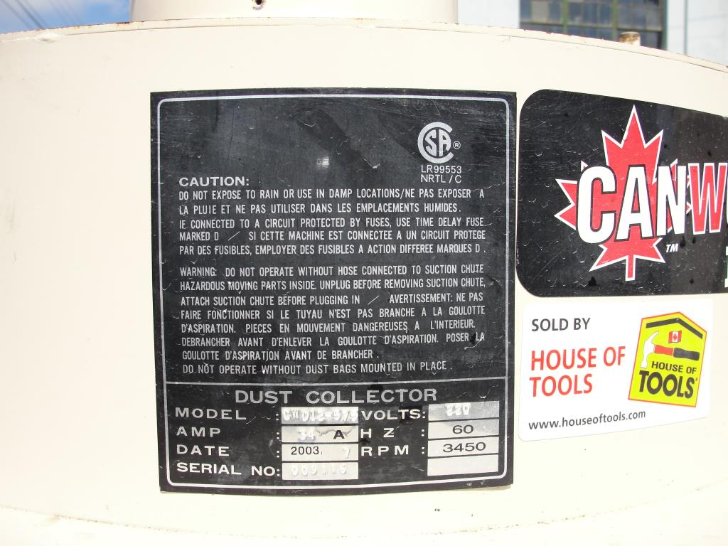 Dust Collector House of Tools industrial air filter model Canwood Pro CWD12-575, 575 cfm, 5 hp6