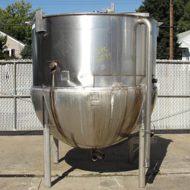 Kettle 1000 gallon Lee hemispherical bottom kettle, Stainless Steel1