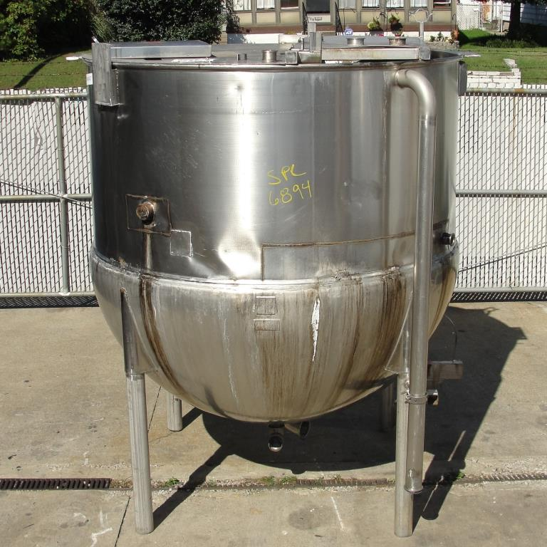 Kettle 1000 gallon Lee hemispherical bottom kettle, Stainless Steel7