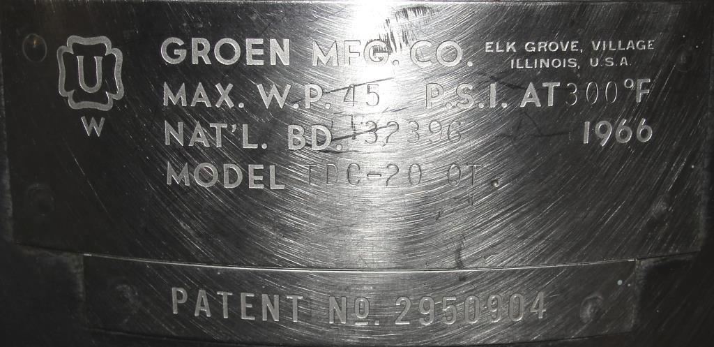 Kettle 5 gallon Groen hemispherical bottom kettle, 45 psi jacket rating, Stainless Steel7