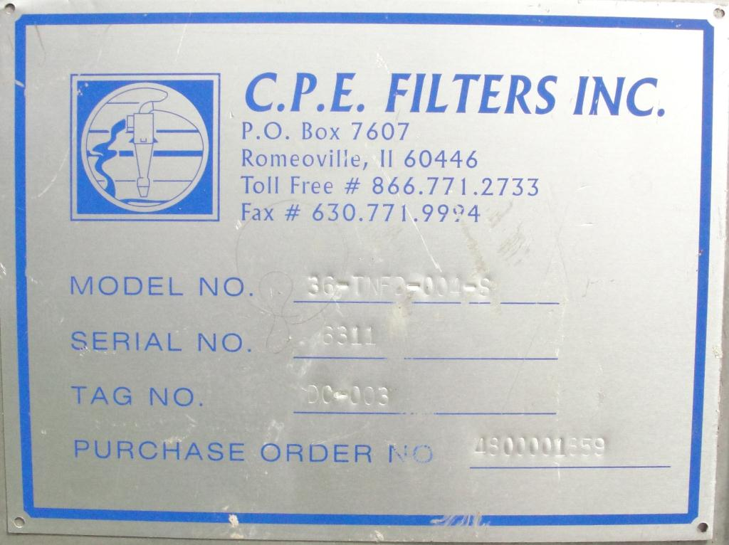 Dust Collector 41 sq.ft. C.P.E. Filters Inc. reverse pulse jet dust collector10