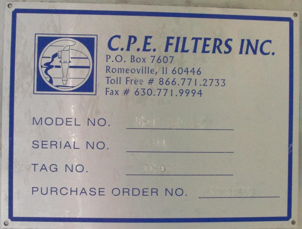 Dust Collector 41 sq.ft. C.P.E. Filters Inc reverse pulse jet dust collector10