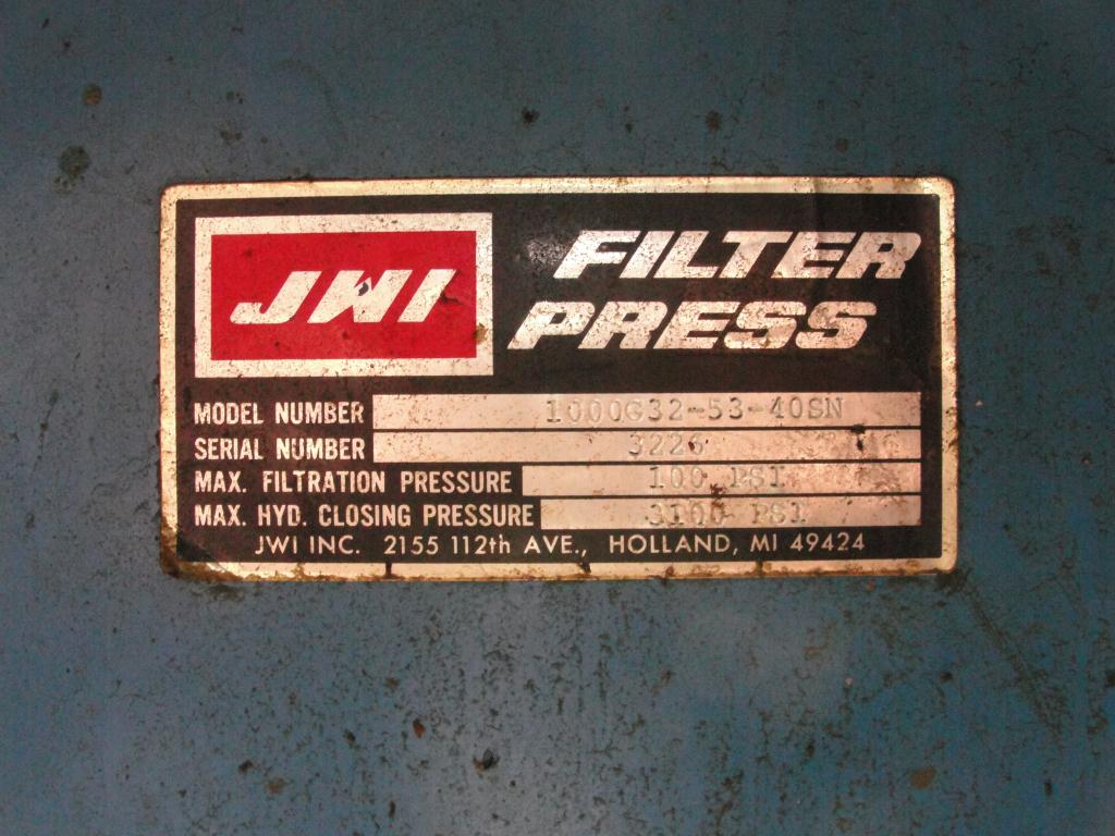 Filtration Equipment 42.5 cu ft JWI recessed plate filter press model 1000G-32-53-40SN, poly7