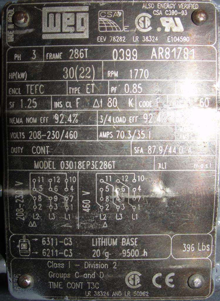 Pump 4 x4 x 10 Dean Met-Pro corp centrifugal pump, 30 hp, Cast Iron6