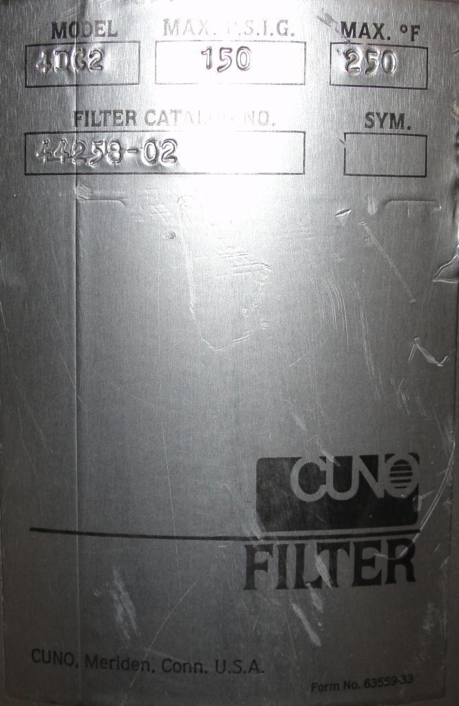 Filtration Equipment 4.4 sqft CUNO cartridge filter model 4DC2, 304 SS6