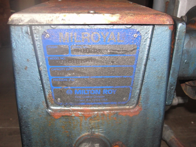 Pump 1 inlet Milton Roy positive displacement pump 5 hp, Stainless Steel 240 gpm @ 60 psi4
