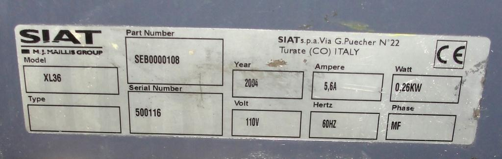 Case Sealer Siat Top only case taper model XL 36, speed 1200 bph4
