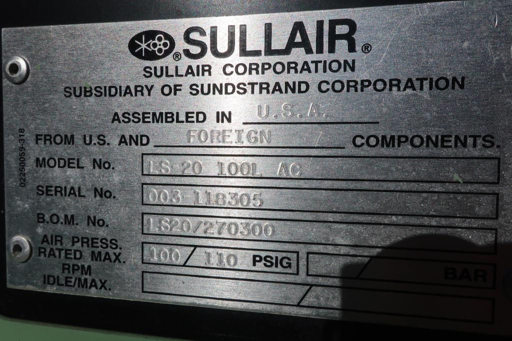 Compressor Sullair air compressor model LS20-100L AC, 500 cfm, Water cooled7