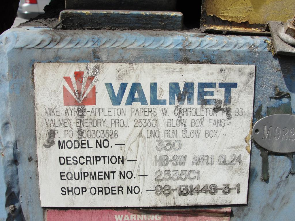 Blower centrifugal fan Valmet size HB-131448-3-1 model 330, CS2
