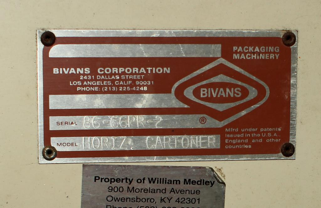 Cartoner Bivans semi-automatic cartoner model 66 SN 86-66 PR2