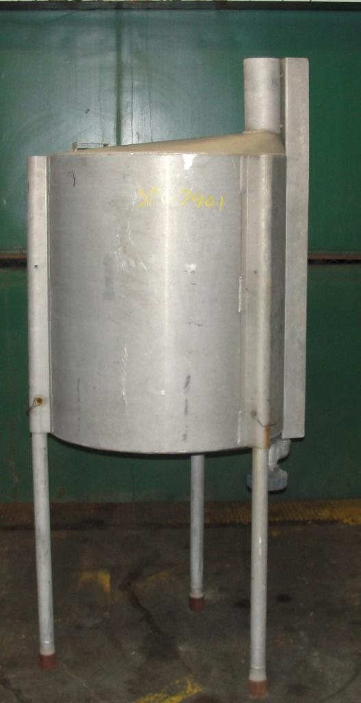 Tank 100 gallon vertical tank, Aluminum, conical bottom1