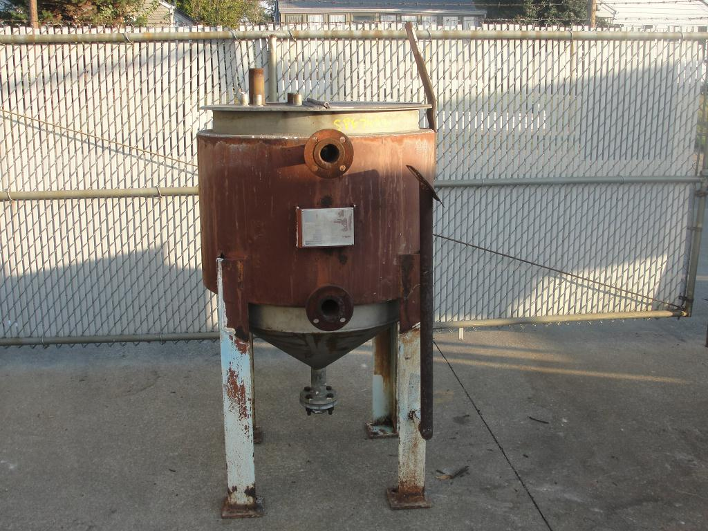 Tank 125 gallon vertical tank, Stainless Steel, 15 PSI jacket, Bottom