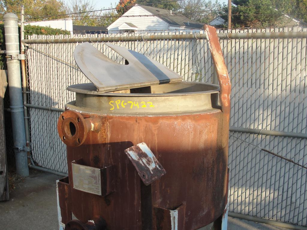 Tank 125 gallon vertical tank, Stainless Steel, 15 PSI jacket, bottom3
