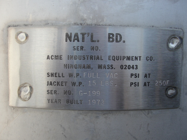 Tank 120 gallon vertical tank, Stainless Steel, 15 PSI @250 degrees F jacket, dish3