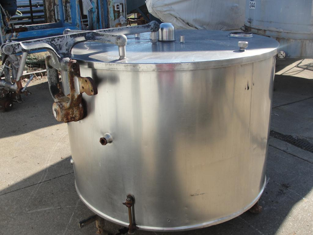 Kettle 250 gallon Pfaudler processor kettle, 125 PSI psi jacket rating, Stainless Steel2