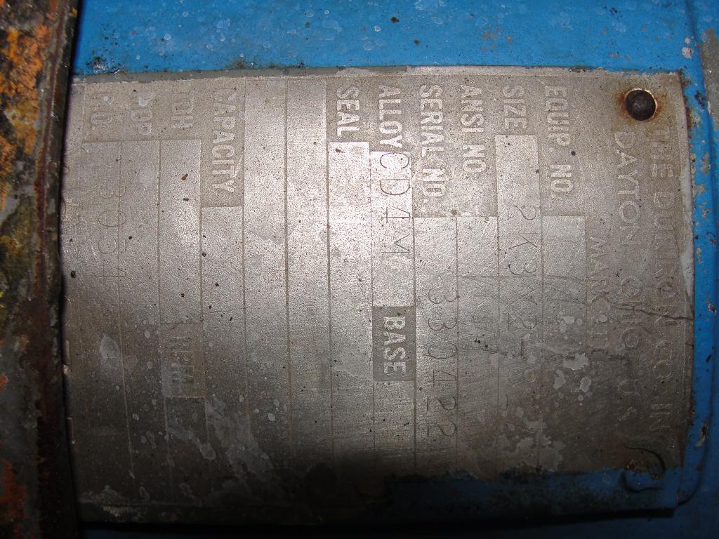 Pump 2K3x2-32/32 Durco centrifugal pump, 15 hp, 316 SS3