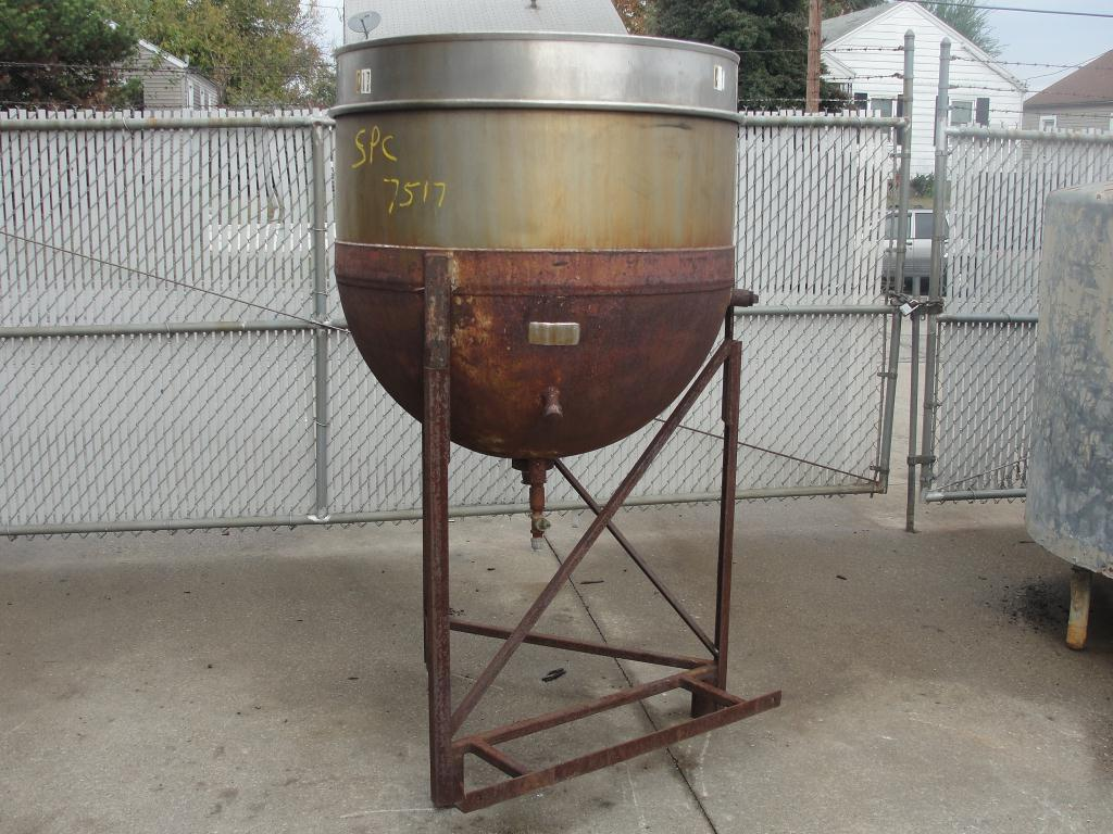 Kettle 150 gallon Lee Metal Products hemispherical bottom kettle, MAWP 75 PSI psi jacket rating, Stainless Steel1