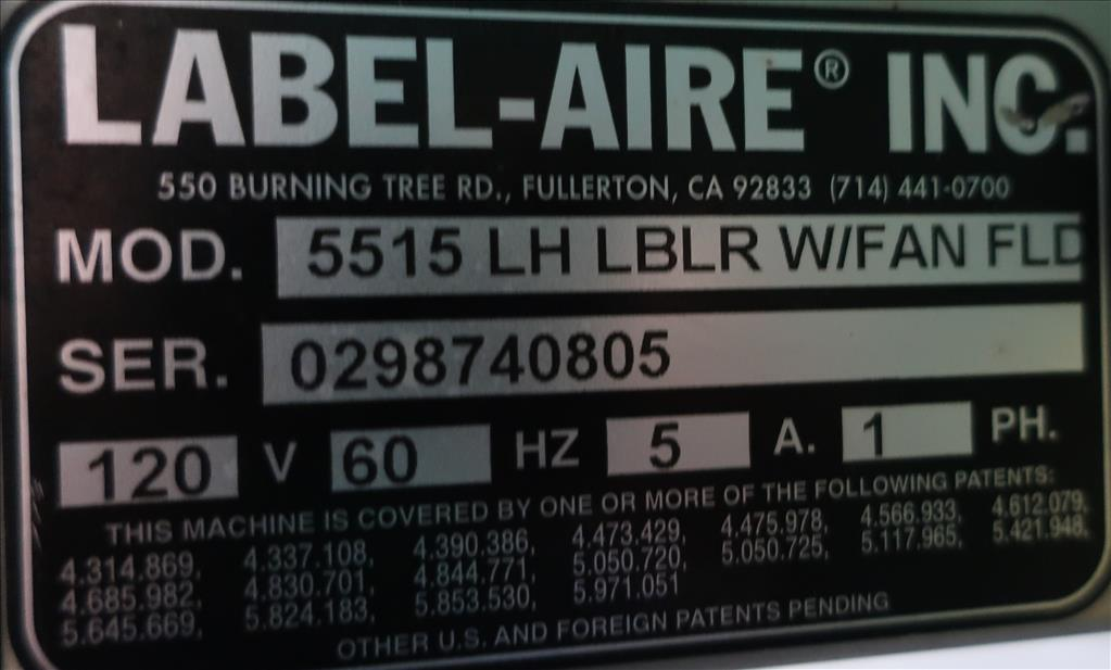 Labeler Label-aire pressure sensitive labeler model 5515 LH LBLR W/FAN FLC, wipe on8