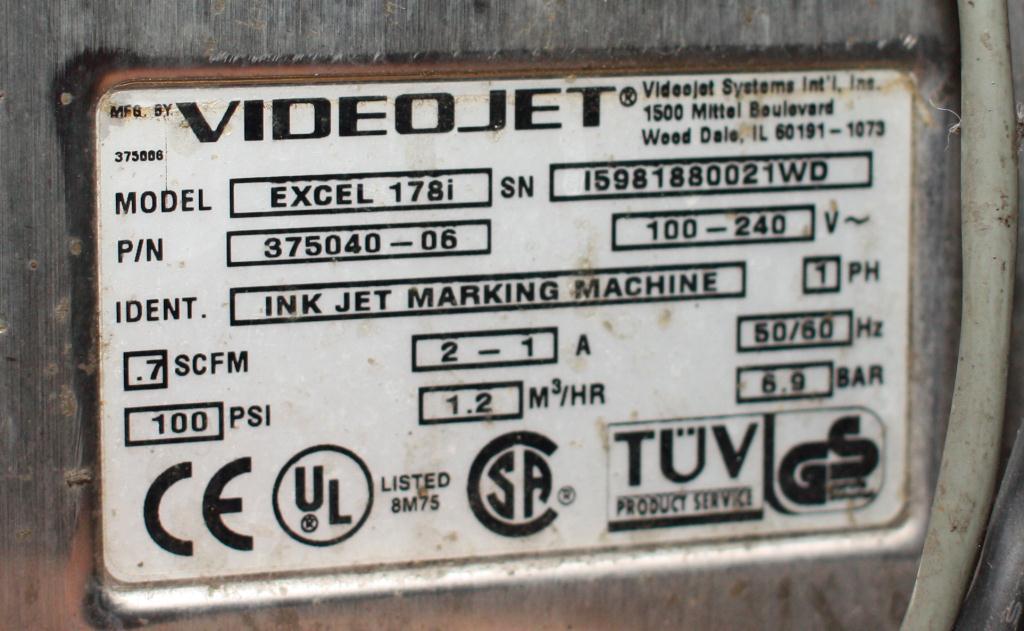 Coder Videojet ink-jet coder model Excel 178i, 1 print heads6