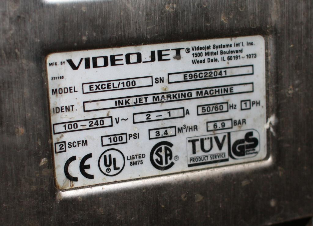 Coder Videojet ink-jet coder model Excel Series 100, 1 print heads, up to 916 ft/min6
