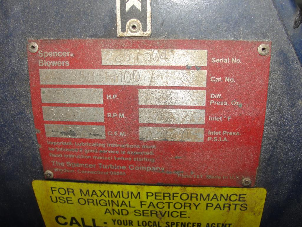 Blower 135 cfm multistage centrifugal blower, Spencer, 7.5 hp4